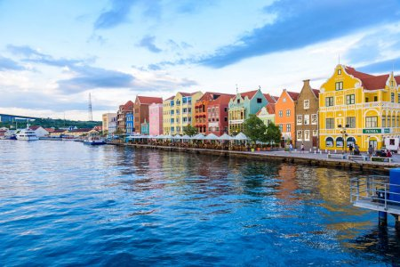 Colorful Buildings in Willemstad downtown, Curacao, Netherlands Antilles.