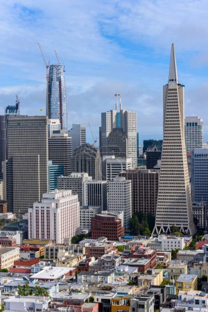 Aerial view of buildings in San Francisco downtown, California, USA.