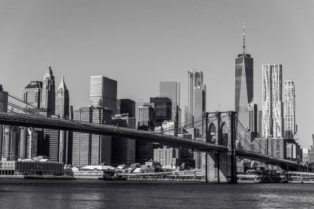 Photo for Black and white panorama of Lower Manhattan Downtown, New York City, USA - Royalty Free Image