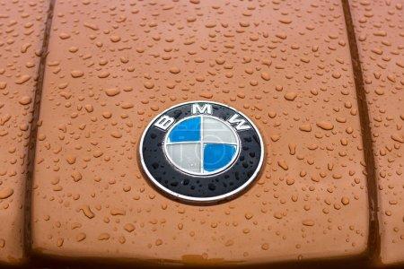 Hood emblem of BMW in raindrops.