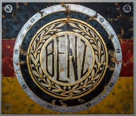 Painting with the logo of the Mercedes-Benz by German artist Ferencz Olivier.