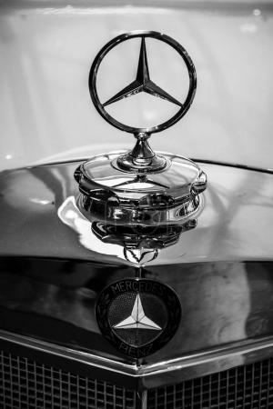Mercedes-Benz 300S (three-beam star), closeup. Hood ornament of full-size luxury car.