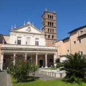 Courtyard and Facade of Santa Cecilia in Trastevere Rome