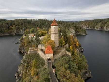 Zvikov castle is a well-preserved Gothic castle standing on a rock above the confluence of the Vltava and Otava rivers. It is considered one of the most beautiful medieval buildings in the Czech Republic.