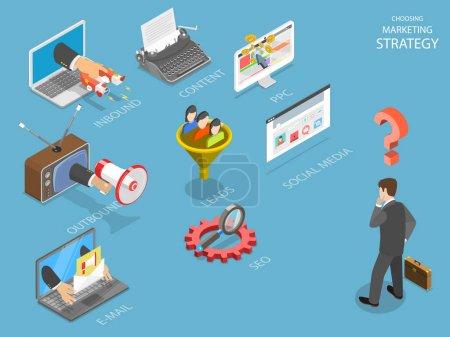 Illustration pour Choisir la stratégie de marquage plat vecteur isométrique. Homme d'affaires pense quelle stratégie est la meilleure pour son entreprise : entrant, sortant, PPC, génération de plomb, e-mail, SEO ou les médias sociaux . - image libre de droit