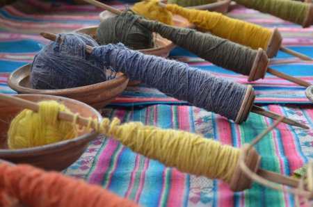 Naturally dyed Alpaca wool being used for traditional weavings in a workshop near Huancayo in the Peruvian Andes