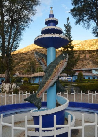 A monument to the Andean Trout, seen at the Ingenio trout farm near Huancayo, Peru