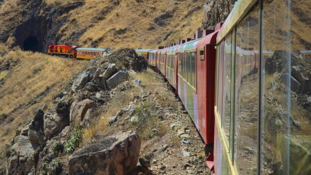 The Ferrocarril Central between Lima and Huancayo, Peru. Crossing the Andes, this train is the 2nd highest train in the world.