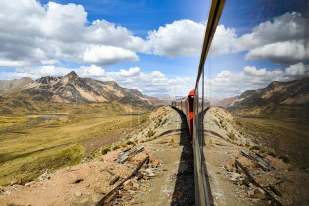 The Ferrocaril Central Andino train, the worlds second highest railroad, crosses the Andes en route from Lima to Huancayo, Peru.
