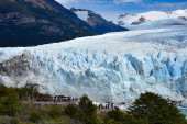 Tourists take in views of the Perito Moreno Glacier in Patagonia, Argentina