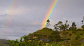 A rainbow appears over the Kuelap archeological site, a pre-Inca fortress near Chachapoyas, Amazonas, Peru