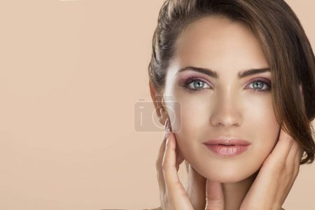 Photo for Woman beauty face portrait isolated on neutral color with healthy skin - Royalty Free Image