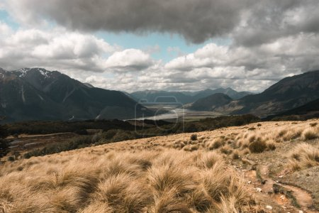 Mount Aspiring national park with valley and mountain peaks.