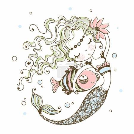 Illustration pour Jolie petite sirène avec un poisson. Style caniche. Vecteur . - image libre de droit