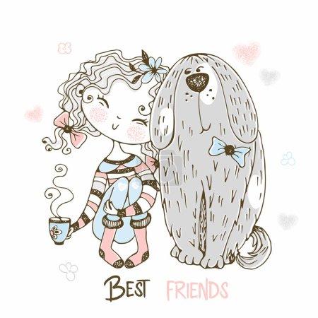 Illustration pour Jolie fille assise avec son gros chien animal de compagnie. Meilleurs amis. Vecteur . - image libre de droit