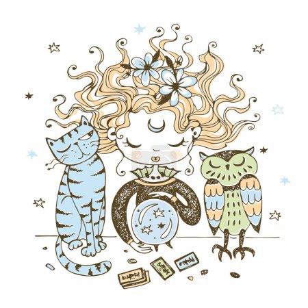 Illustration pour Une jolie petite sorcière avec un chat et une chouette regarde dans une boule de cristal. Vecteur . - image libre de droit