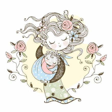 Illustration pour Mère tient son bébé dans ses bras. La fête des mères. Vecteur. - image libre de droit