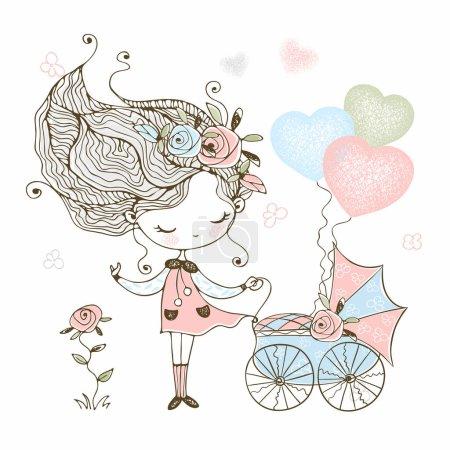 Illustration pour Petite fille mignonne avec une poussette jouet bébé avec bébé. Vecteur . - image libre de droit