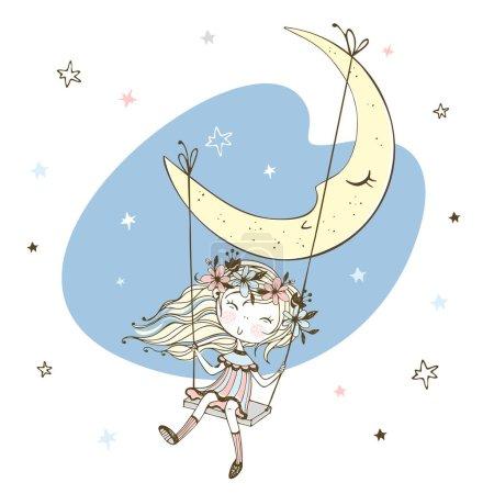 Illustration pour Jolie petite fille se balançant sur une balançoire sur la lune. Vecteur . - image libre de droit