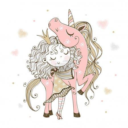 Illustration pour Jolie petite princesse avec une licorne rose. Vecteur . - image libre de droit