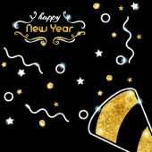 Elegant black new year's eve background with gold and silver party design Graphics are grouped and in several layers for easy editing The file can be scaled to any size
