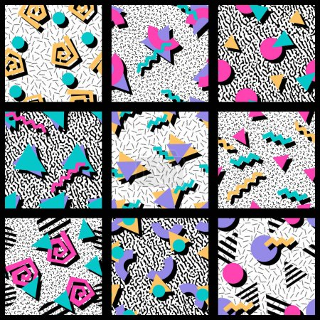 Illustration for 9 vibrantly colorful 80's and 90's style seamless patterns with geometric shapes. Graphics are grouped and in several layers for easy editing. The file can be scaled to any size. - Royalty Free Image