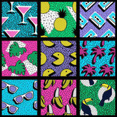 Set of vibrant 80's patterns