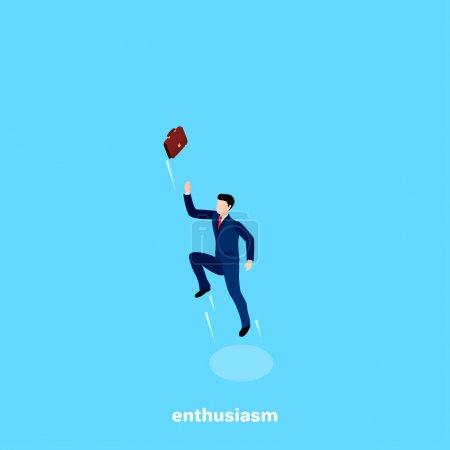 Illustration pour L'homme en costume d'affaires a sauté haut et jeté la mallette dans le ciel, une image isométrique - image libre de droit