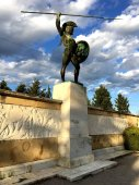 THERMOPYLAE, GREECE - DECEMBER 2017: Leonidas statue at the Memorial to the 300 spartans, Thermopylae, Pthiotis, Greece.