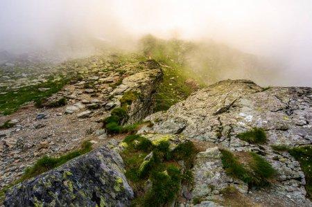 rocky cliffs of Fagaras mountains in fog