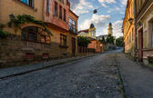 empty street of old town on summer morning