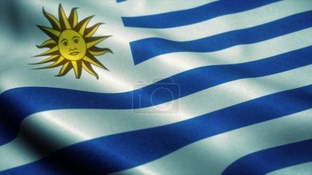 Photo pour Drapeau de l'Uruguay agitant le vent. Drapeau national d'Uruguay. Signe de l'Uruguay. Illustration 3d . - image libre de droit