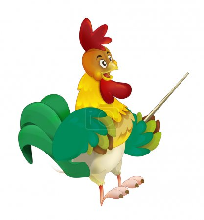 Cartoon rooster - smiling and conducting