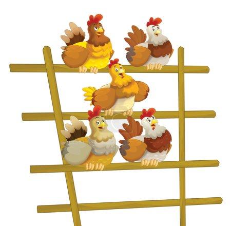 crowd of happy hens sitting