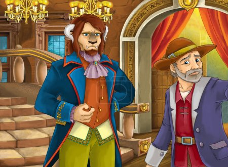 Foto de Escena de dibujos animados con algún granjero y alguna criatura en la sala del castillo - ilustración para los niños. Escena de feliz y divertido cuento de hadas tradicional para el uso de diferentes - Imagen libre de derechos