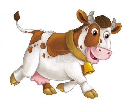 cheerful cow is running, smiling and looking