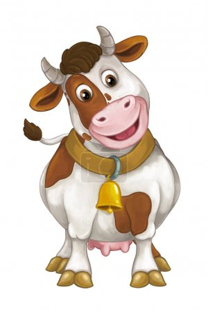 Photo for Cartoon happy farm animal - cheerful cow is standing, smiling and looking - artistic style - isolated - illustration for children - Royalty Free Image