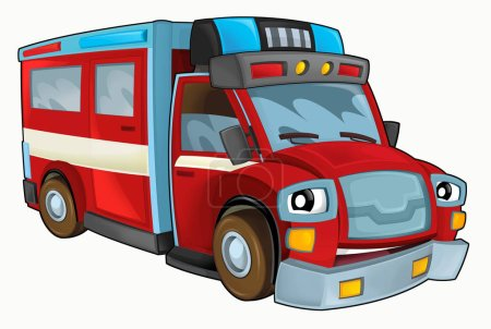 Cartoon happy and funny fire truck