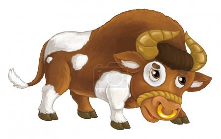 Cartoon happy and funny farm animal - angry bull i...