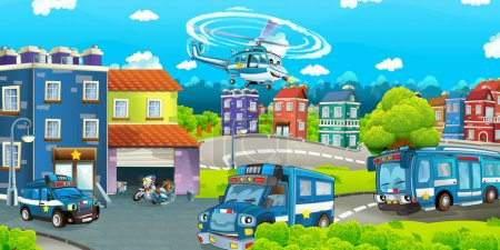 Cartoon stage with different machines for police duty
