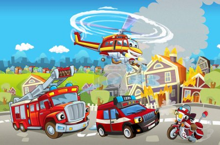 different machines for firefighting - truck and helicopter