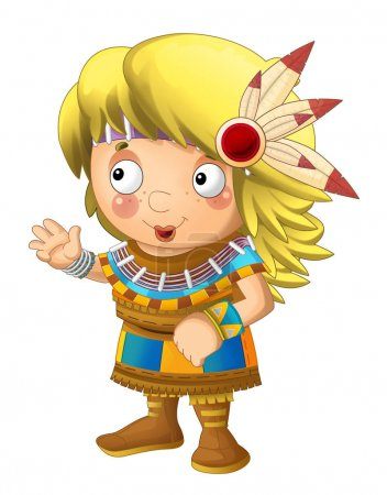 Cartoon indian character - isolated - illustration for children