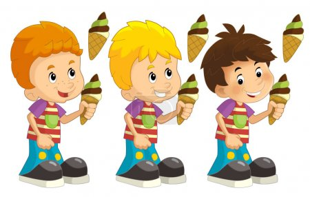 Cartoon set of young boys with ice cream - illustration for children