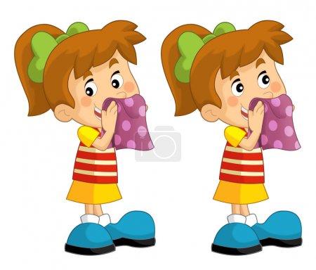 Cartoon set of young girls wipe the faces with a towel - illustration for children