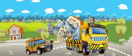 Photo pour Dessin animé camion et pilote une voiture de remorquage - illustration pour enfants - image libre de droit