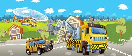 Photo pour Dessin animé de la dépanneuse, voiture pilote et hélicoptère - illustration pour enfants - image libre de droit