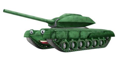 Cartoon happy tank - illustration for children