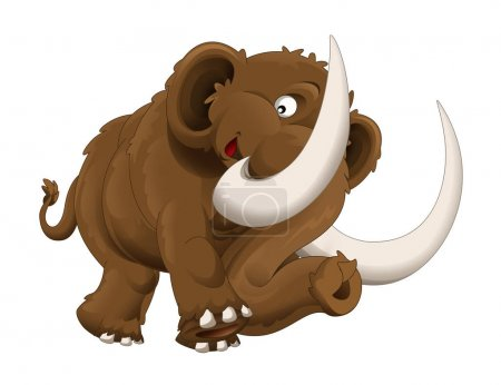 Photo pour The cartoon mammoth. Happy and colorful illustration for the children. - image libre de droit