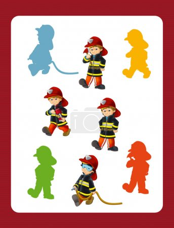 Different firemen at work - game with shapes