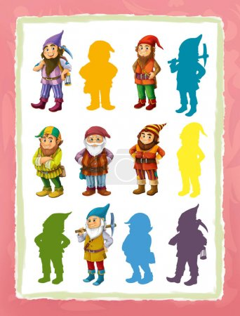 different dwarfs - game with shapes